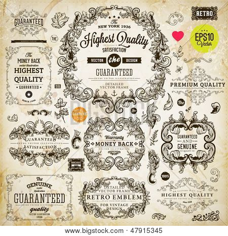 Vintage set of calligraphic design elements: page decoration, Premium Quality and Satisfaction Guarantee Label, antique and baroque frames | Old paper texture background, footprints of a cup of coffee