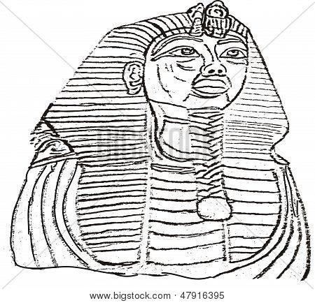 king tut coloring pages - king tut outline illustration stock vector stock photos