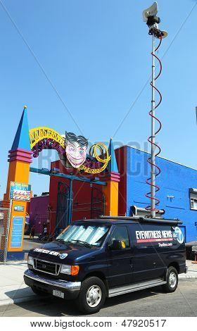 WABC Channel 7 Eyewitness news van in front of Luna Park in Brooklyn