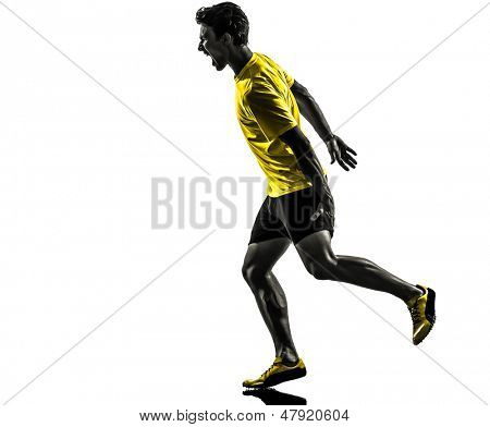 one caucasian man young sprinter runner running muscle strain cramp in silhouette studio  on white background