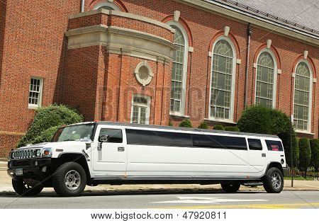 Stretch limousine in front of the church in Brooklyn