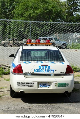 NYPD school safety car in Brooklyn, NY