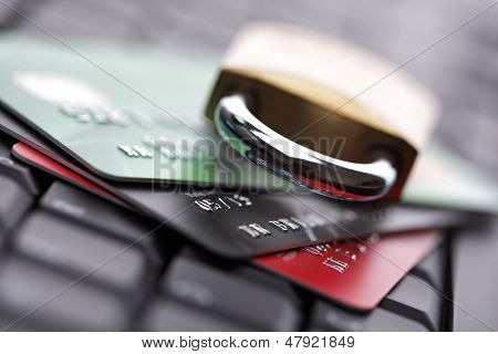 Computer internet credit card security concept with padlock