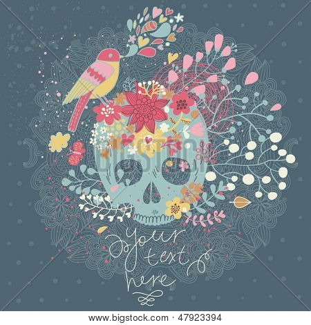 Vector seamless background with skull in flowers and bird singing. Spring floral concept card in mexican tradition with place for text