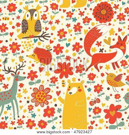 Cute seamless pattern with forest animals: bear, fox, deer, hedgehog, owl, bird. Funny animals  childish design. Happy birthday card.