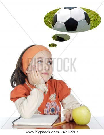 Adorable Girl In Class Thinking About The Ball