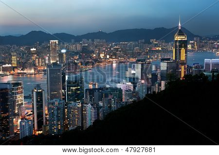 Hong Kong evening cityscape and Central Plaza