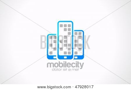 Mobile phones vector logo design template. Mobile city concept. Touchphones icon