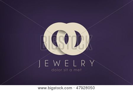 Jewelry vector logo design template. Jewellery fashion concept. Jewelery rings wedding idea icon. Luxury symbol. Stylish sign.