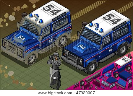Isometric Police Off Road Vehicle In Front View
