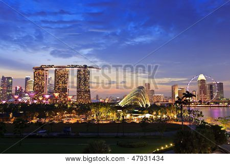 Nightscape of Marina Bay Sand and Garden by The Bay