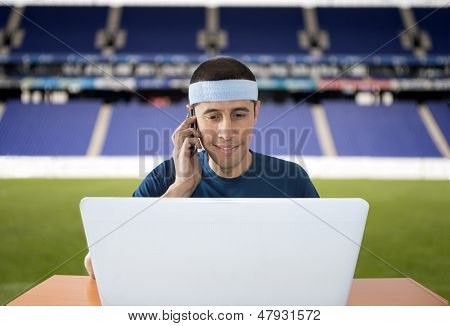 Calling To Make a Bet From A Stadium
