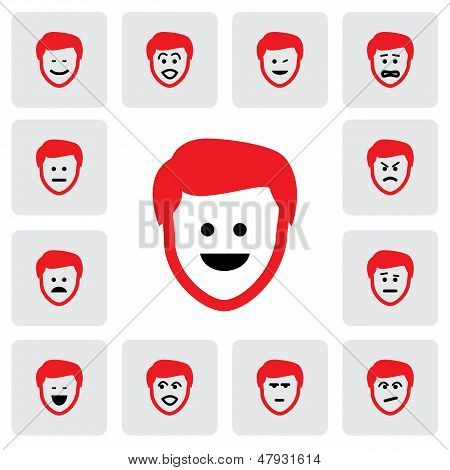 Different Emotions & Feelings Of Young Man's Face- Vector Graphic