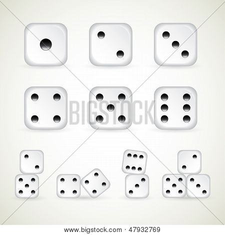 Dice number one to ten