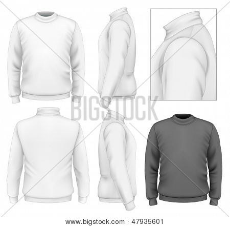 Photo-realistic vector illustration. Men's sweater design template (front view, back view, side views). Illustration contains gradient mesh.