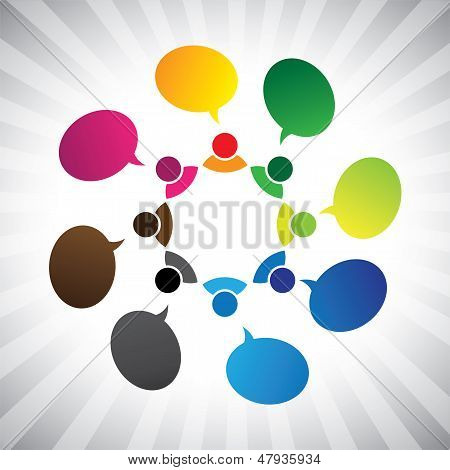 People In Social Network Talking Or Chatting- Vector Graphic