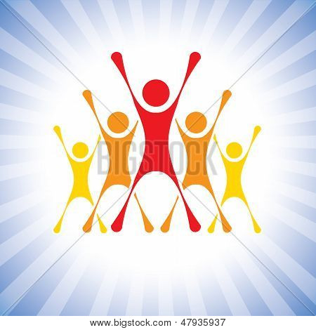 Team Of Achievers Celebrating Victory In A Competition- Vector Graphic