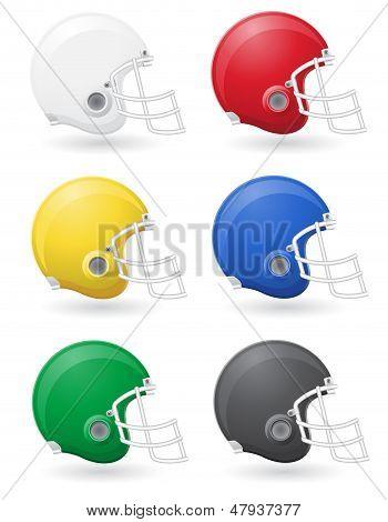 American Football Helments Vector Illustration