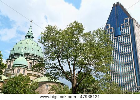 Mary Queen Of The World Cathedral And Le 1000 De La Gauchetiere In Montreal