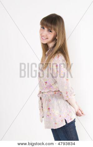 Female Model Isolated On White Background