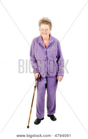 Senior Woman With Cane.