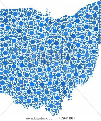 Decorative Map of Ohio - USA -