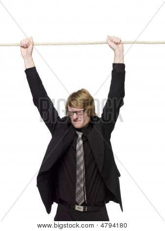 Man hanging in a rope