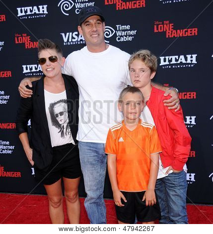 LOS ANGELES - JUN 22:  Adrian Pasdar, Natalie Maines, Beckett and Jackson arrives to the 'The Lone Ranger' Hollywood Premiere  on June 22, 2013 in Hollywood, CA