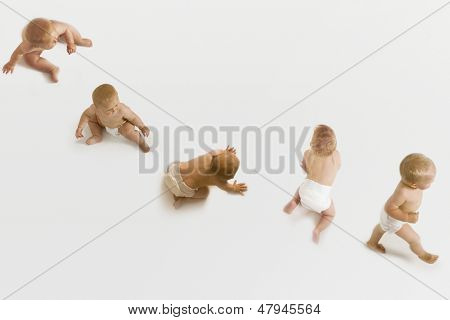 Row of babies sitting, crawling and walking on white background