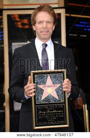 LOS ANGELES - JUN 23:  Jerry Bruckheimer arrives to the Walk of Fame Honors Jerry Bruckheimer  on June 23, 2013 in Hollywood, CA