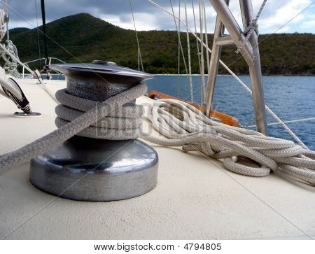 View To Water Over Sailboat Deck And Rope