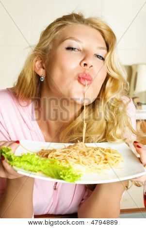 Sexy Woman Eating Spaghetti