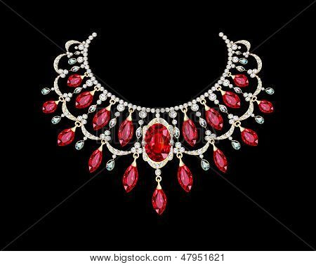 Golden Necklace  Female With Red Precious Stones