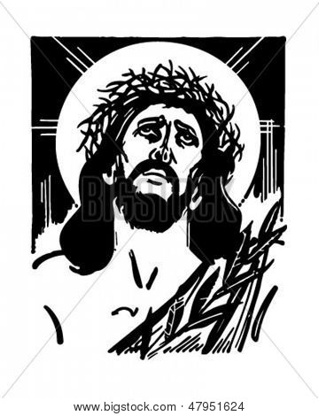 Jesús con la corona de espinas - Retro Clip Art Illustration