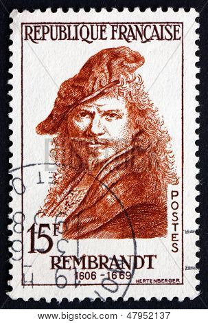 Postage Stamp France 1957 Rembrandt, Dutch Painter, Portrait