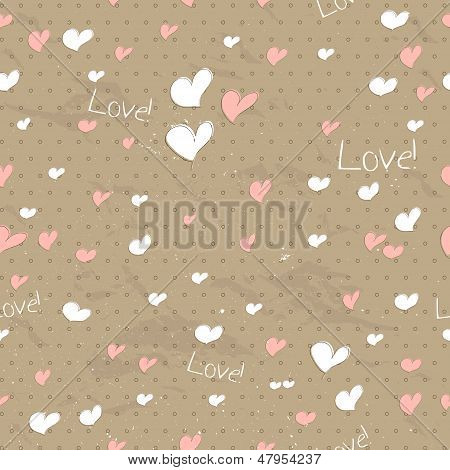 Vintage seamless texture with hearts.