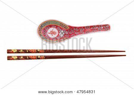 Chopsticks And Soup Spoon