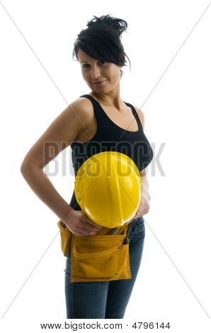 Pretty Sexy Female Young Construction Worker