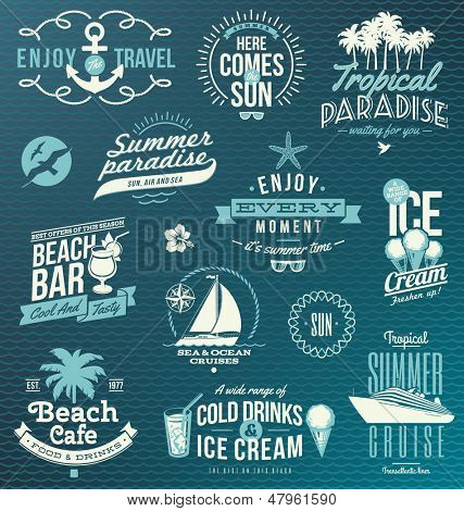 Vector set of travel and vacation emblems and symbols