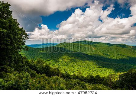 View Of The Blue Ridge And Beautiful Summer Clouds, Seen From Skyline Drive In Shenandoah National P
