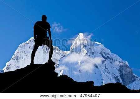 Man climber Himalaya mountains