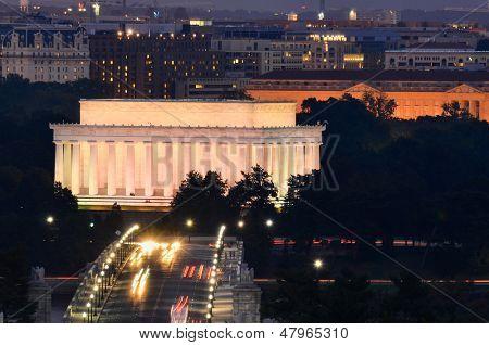 Washington DC - Lincoln Memorial and Arlington Memorial Bridge at night