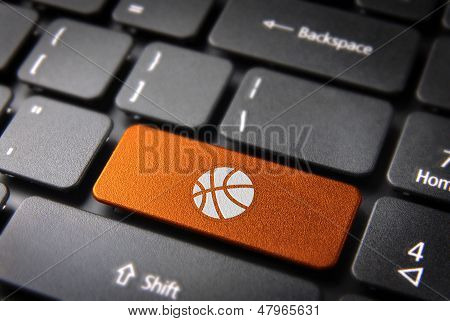Orange Keyboard Key Basketball, Sports Background