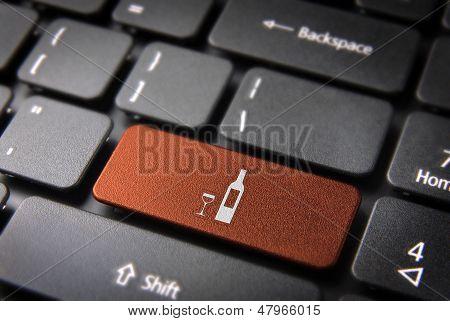 Orange Wine Bottle Keyboard Key, Food Background