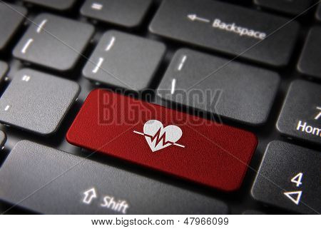 Red Heartbeat Keyboard Key, Health Background