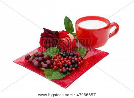 Raspberries, Currant, Cherry,  Roses And Cup Of Milk