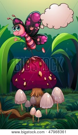 Illustration of a butterfly above a mushroom with an empty callout