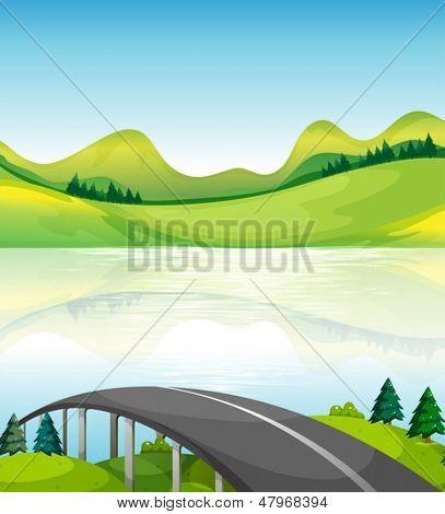 Illustration of a road bridge near the lake