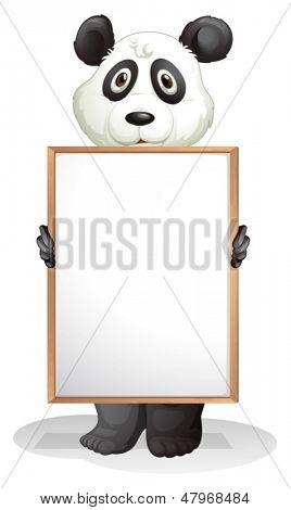 Illustration of a panda holding an empty board on a white background
