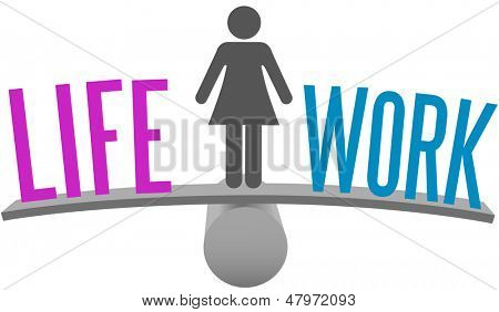 Woman weighs Life and Work Balance decision on choice scale symbol